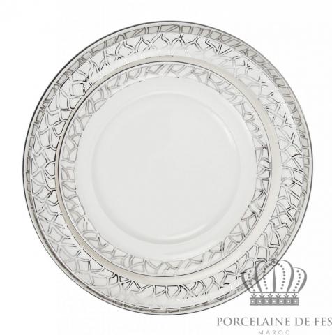 Assiette plate & assiette à dessert double bordure